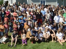 A joyous gathering of young and old at the Quebec summer school