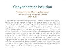 De nouveaux documents de réflexion ont été préparés au sujet de l'inclusion et de la réconciliation