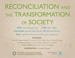 La Communauté bahá'íe coparraine une rencontre publique sur la réconciliation et la transformation de la société