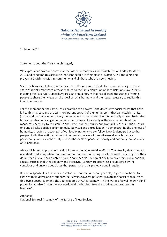 La communauté bahá'íe de Nouvelle-Zélande réagit à l'attaque contre des musulmans à Christchurch
