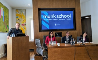 (l to r) Craig Smith, from the Munk School of Global Affairs and Public Policy, chaired panel presentations from Shachi Kurl, Executive Director of the Angus Reid Institute,  Geoffrey Cameron, Director of the Office of Public Affairs of the Baha'i Community of Canada, and journalist Sadia Rafiquddin.
