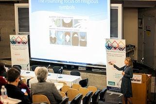 Solange Lefebvre, a research chair at the Université de Montréal, offering her keynote remarks.