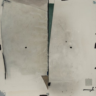 Légende : APPROCHE D'UN LIEU SACRÉ, 1981 acrylique sur toile, non encadrée 60 po x 60 po.