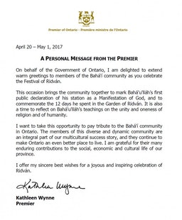 Premier of Ontario Sends Baha'is Greetings for the Festival of Ridvan