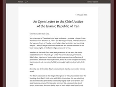 Brian Mulroney joins prominent lawyers  to condemn confiscation of Baha'i property in Iran
