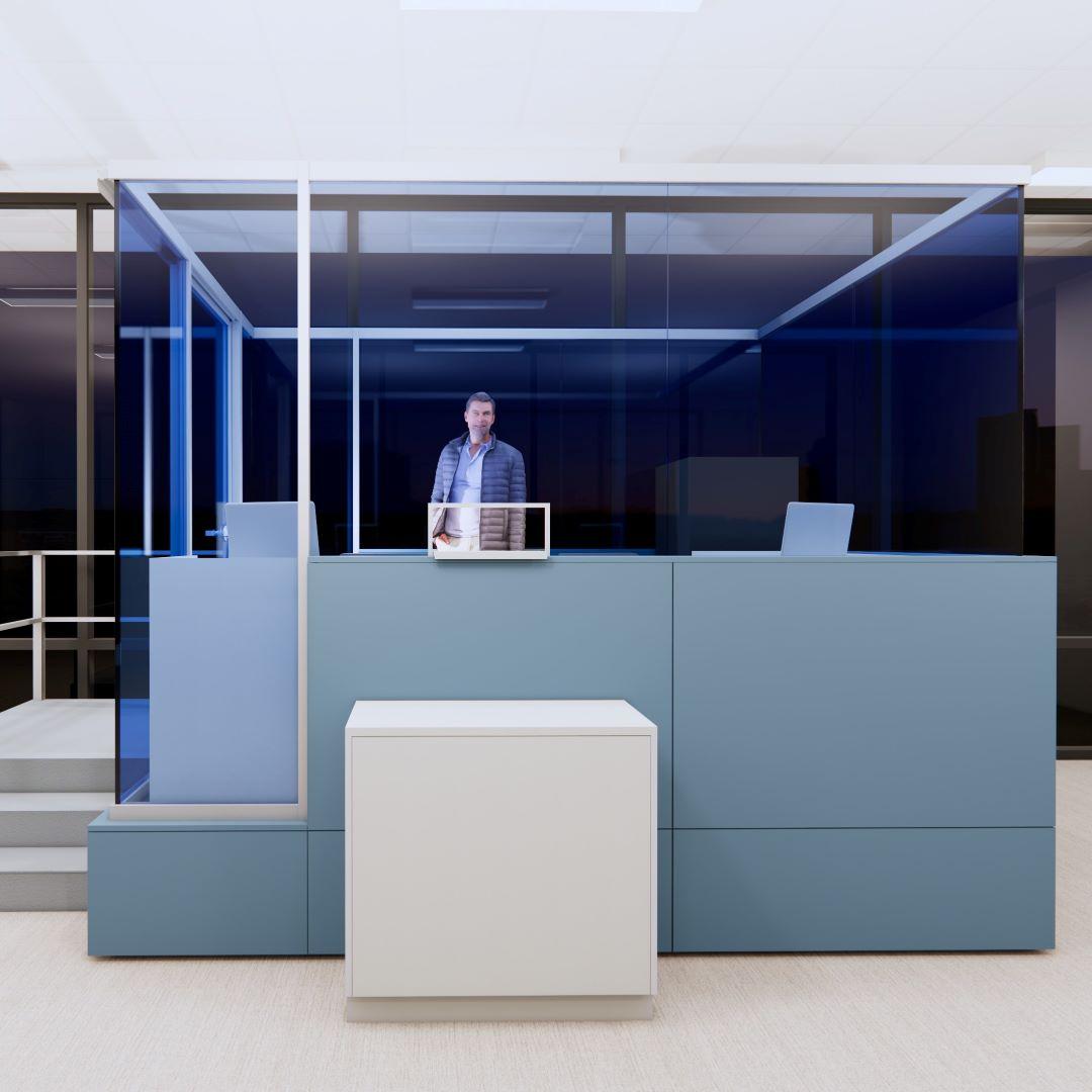 security booth on raised floor