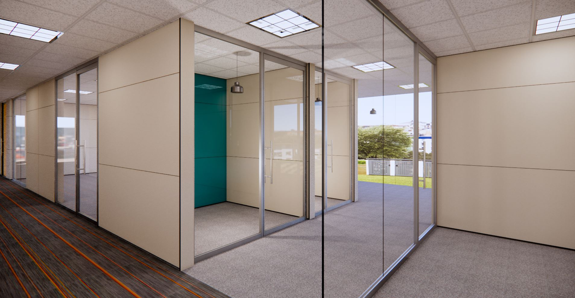 Falkbuilt, Glass Wall, Glass Door, Solid Wall, Digital Component Construction