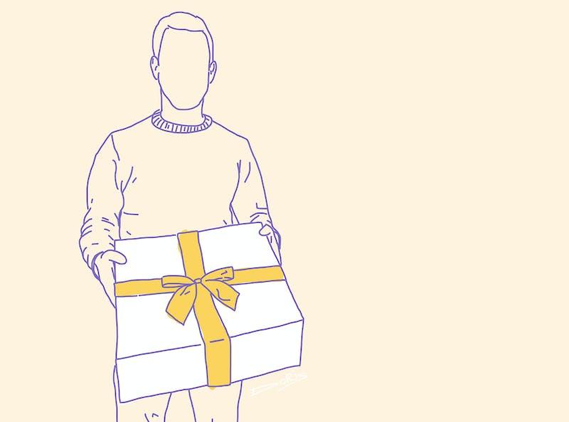Patrick Wessels met een cadeau