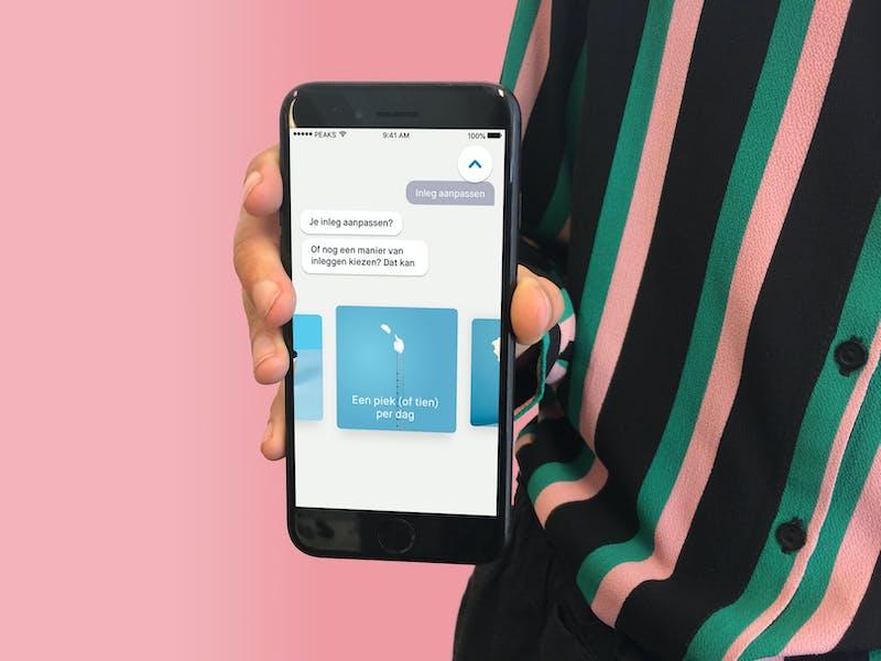 menu met de manieren van geld inleggen in de peaks app