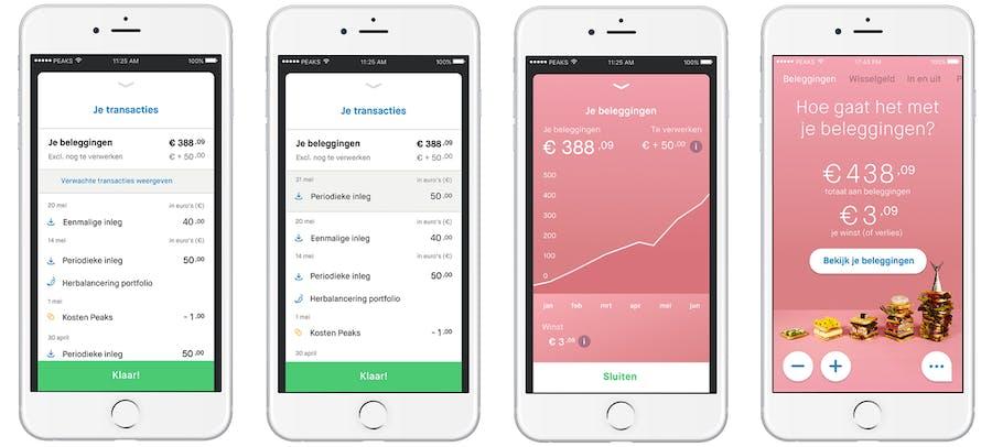 transactiescherm en beleggingenscherm in peaks app