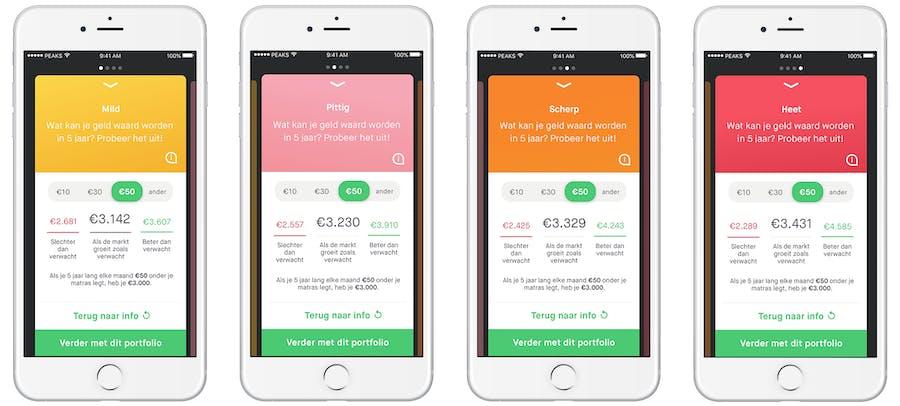 app screen portfolio's en rendement