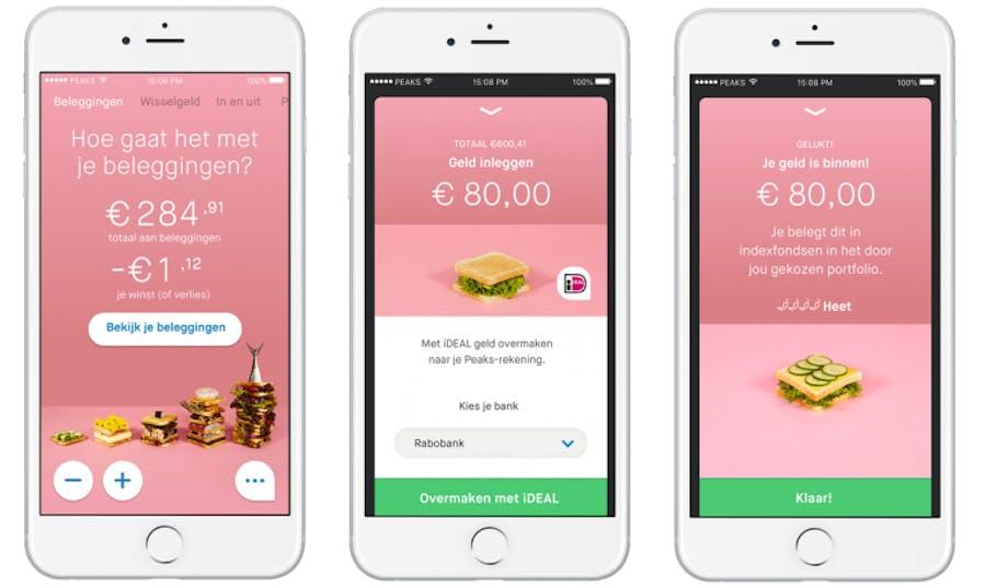 geld inleggen met ideal in de peaks app
