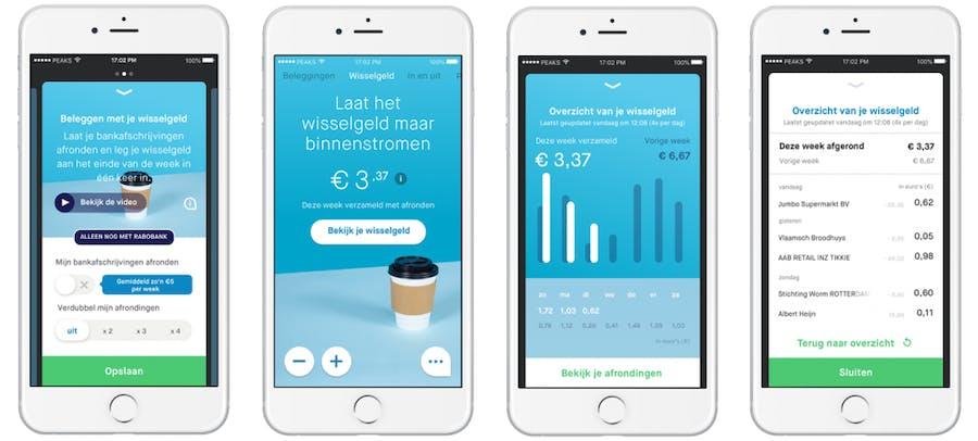 je wisselgeld inleggen en beleggen met de peaks app
