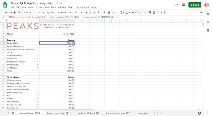 hou inkomsten en uitgaven bij met onze excel of google spreadsheet