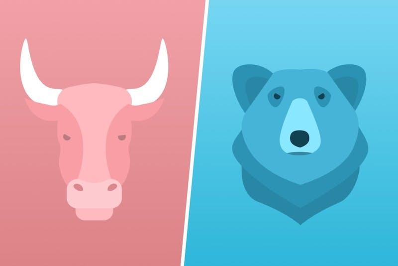Illustratie van een stier en een beer