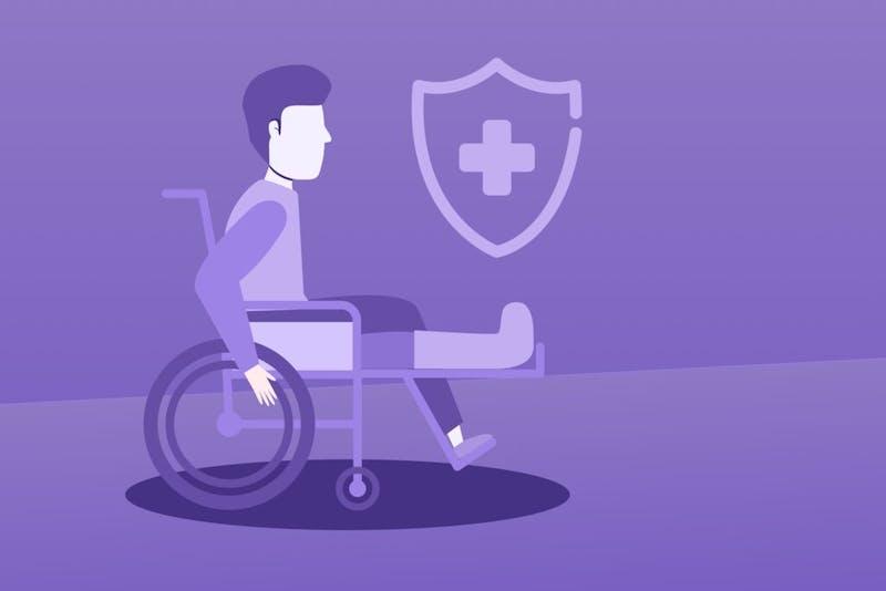 Illustratie van man in een rolstoel