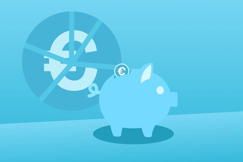Ein blaues Sparschwein für Lockdown-Ersparnisse