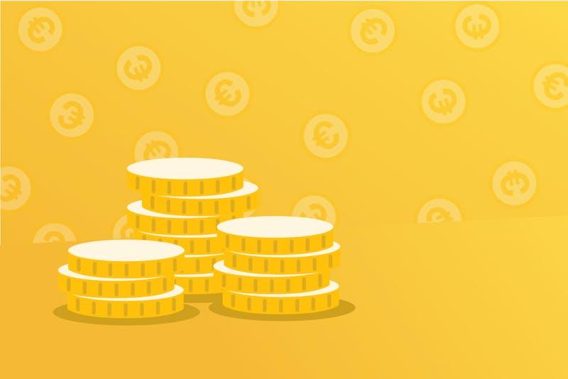 Geldmünzen, die finanzielle Unabhängigkeit darstellen