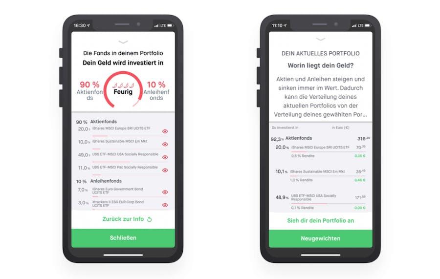 Neugewichten in der Peaks-App Screenshot