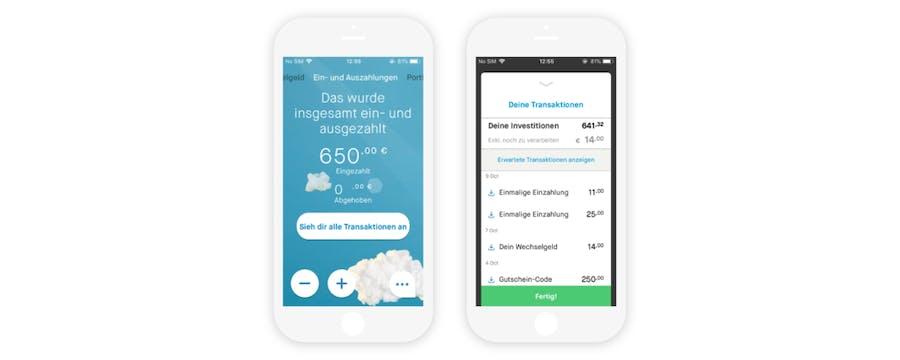 Transaktionen in der Peaks-App
