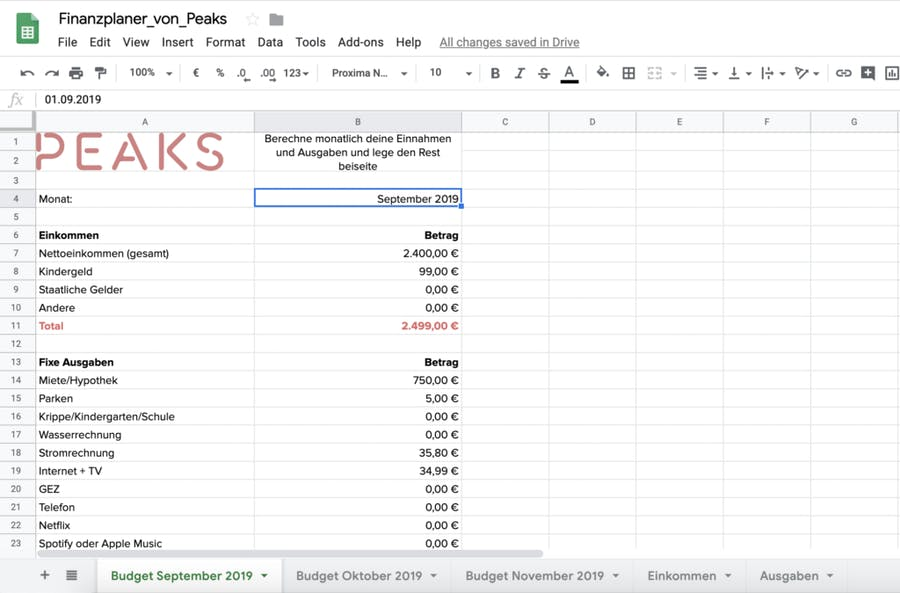 Finanzplan-Vorlage in Excel für Ein- und Ausgaben von Peaks