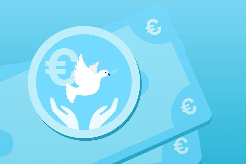 Freiheit und Geld: Eine Friedenstaube und eine Geldmünze