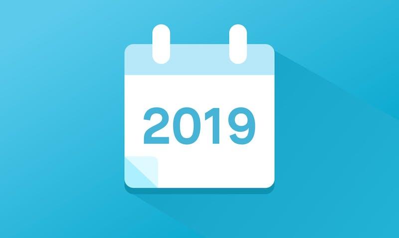 Ein Kalender, der das Börsen-Update 2019 symbolisiert