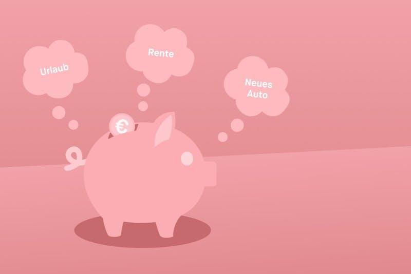 Ein pink-farbiges Sparschwein für Sparziele