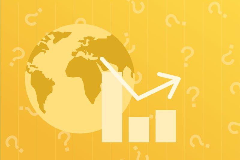 Weltkugel mit Aktienkursen