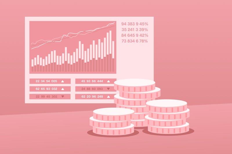 pantalla que representa la fluctuación de precios y monedas delante de ella