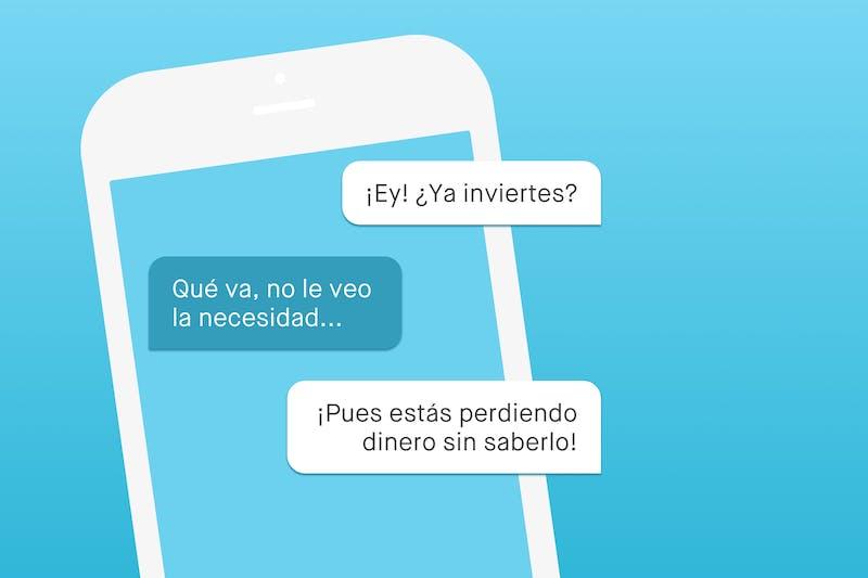 Mensajes para convencer amigos a invertir en pantalla de teléfono