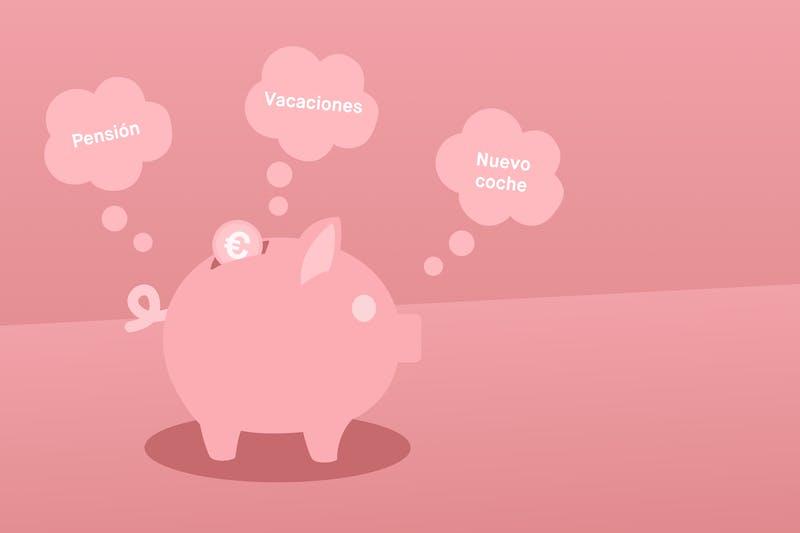 cerdito de ahorro pensando en sus metas, vacaciones, pensión y nuevo coche
