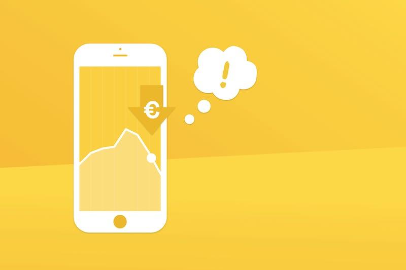 fallende Aktienkurse auf einem Smartphone-Bildschirm