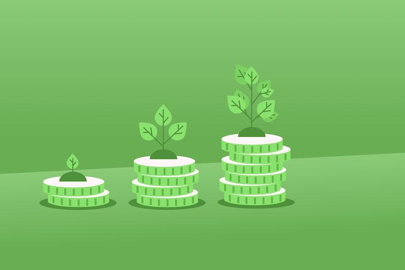 monedas con semillas encima representa las inversiones sostenibles
