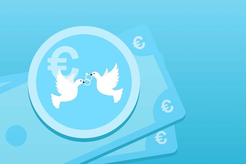 Zwei Hochzeitstauben und Geldscheine, damit man Geld für die Hochzeit sparen kann