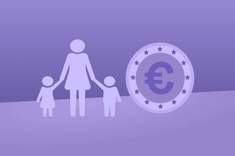 Ein Eurozeichen und eine Familie, das für die besten Nebenjobs für alleinerziehende Mütter steht