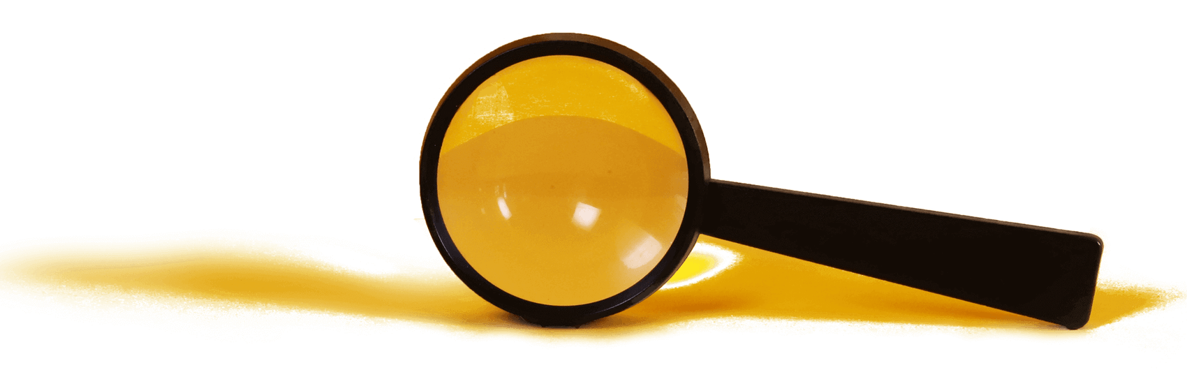A magnifying glass topped over