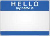 Color photo of a name tag that reads Hello My Name Is