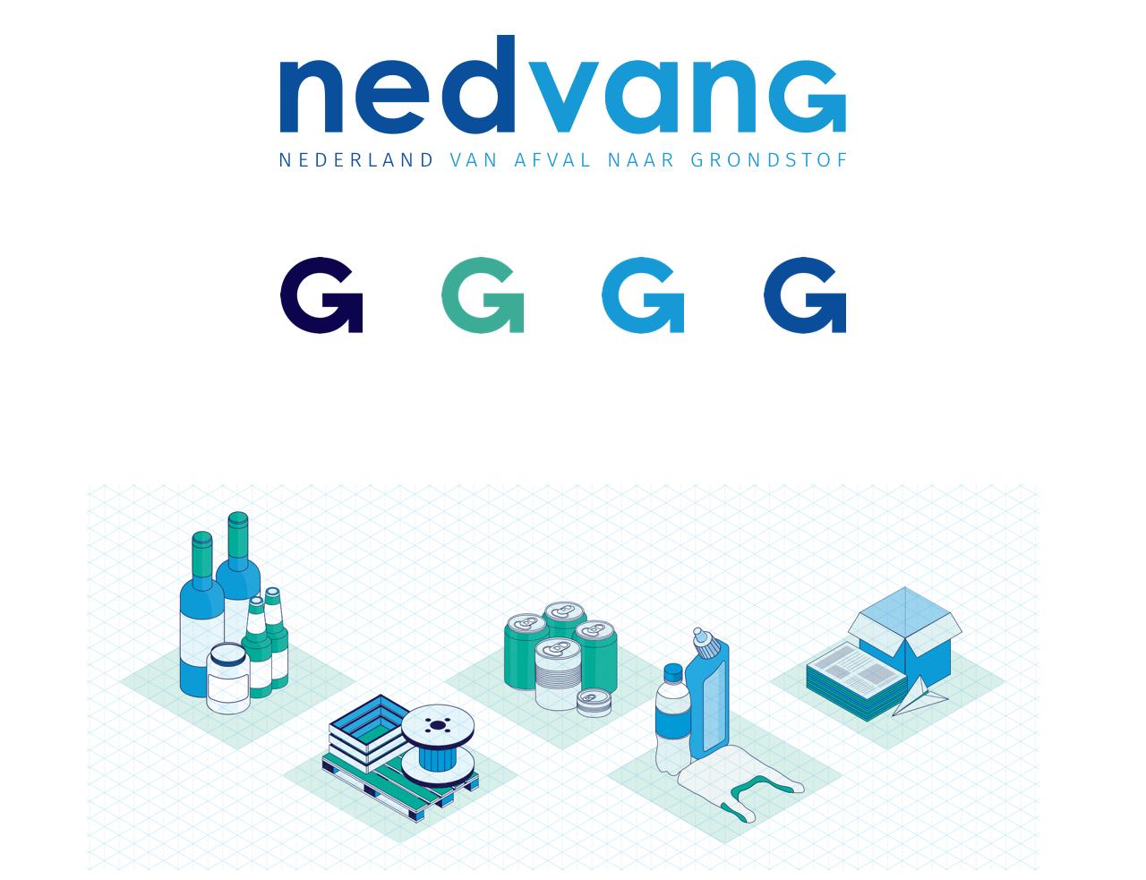 Logo van Nedvang en 5 illustraties van recycling materialen