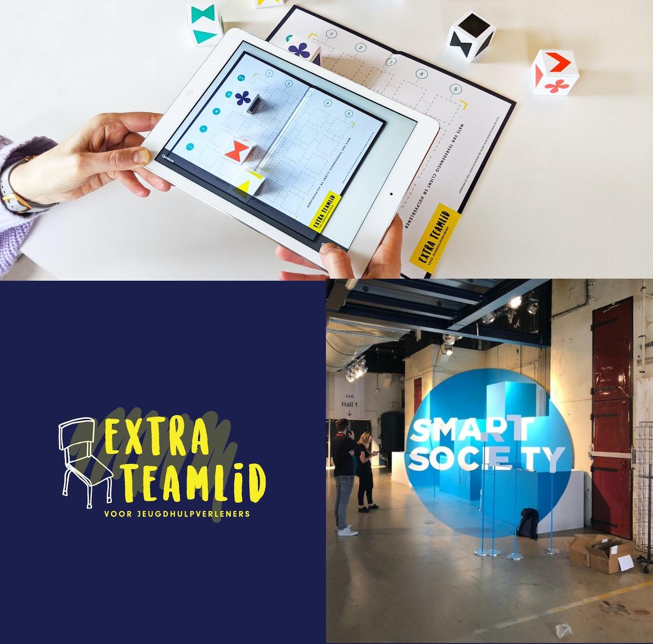 Afbeelding van het een iPad die een foto maakt van het spelbord. Afbeelding van het logo. Afbeelding van de Smart Society stand op Dutch Design Week.