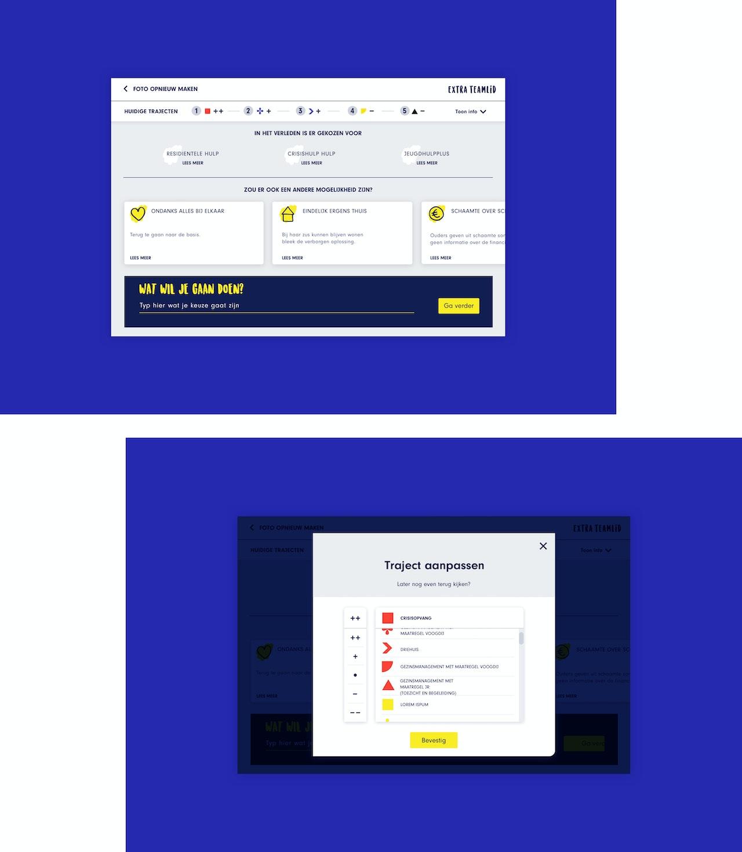 Twee desktop schermen van de Extra Teamlid tool