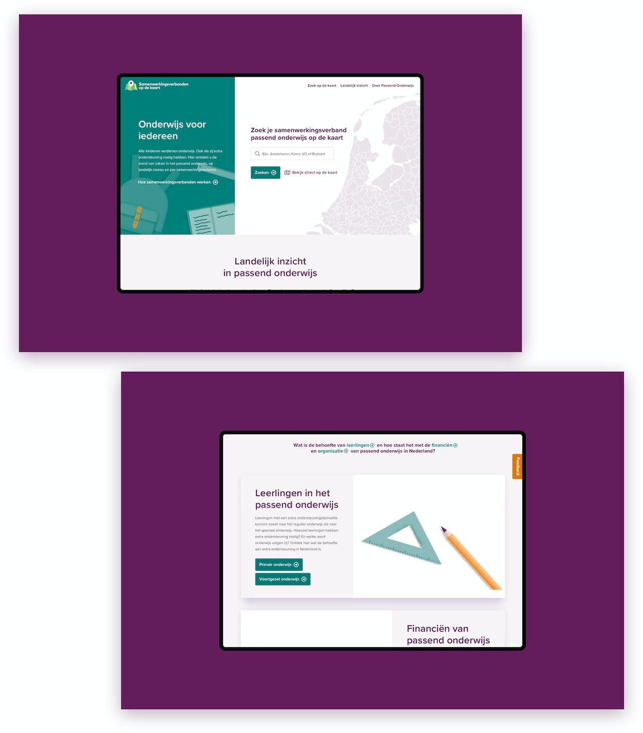 In de afbeelding staan twee schermafbeeldingen van de website www.samenwerkingsverbandenopdekaart.nl