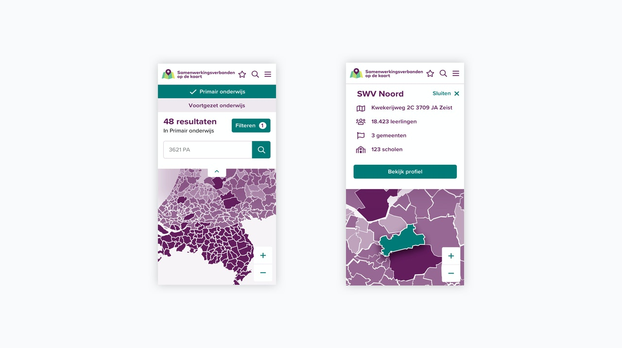 Op de afbeelding staan twee schermafbeeldingen die de website www.samenwerkingsverbandenopdekaart.nl weergeven in mobiele weergave.