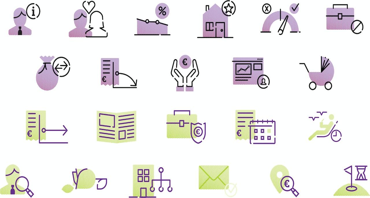 In de afbeelding staan diverse voorbeelden van iconen die voor de website www.philpspensioenfonds.nl zijn ontwikkeld.