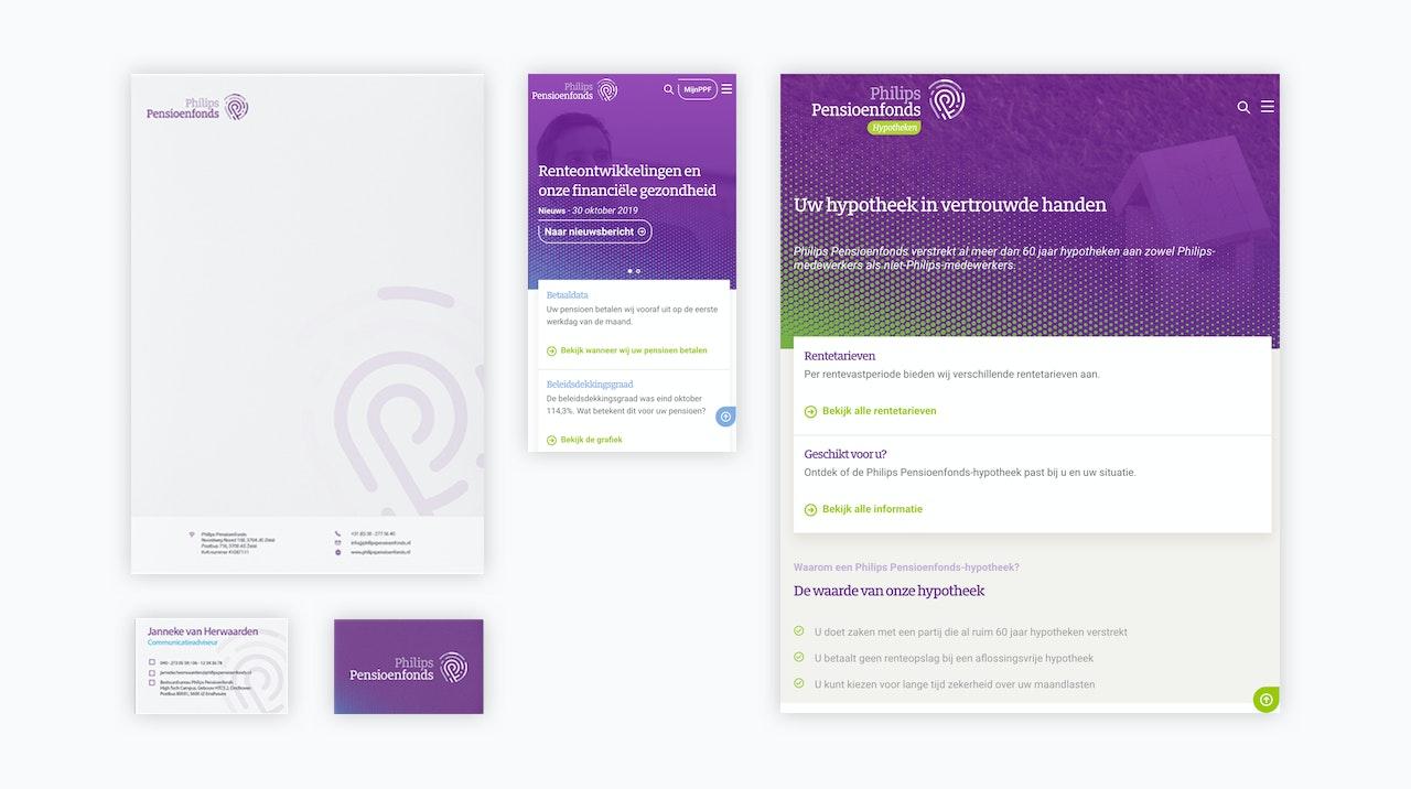 In de afbeelding staan een aantal voorbeelden van andere materialen in de nieuwe huisstijl: briefpapier, visitekaartjes en emailtemplates.