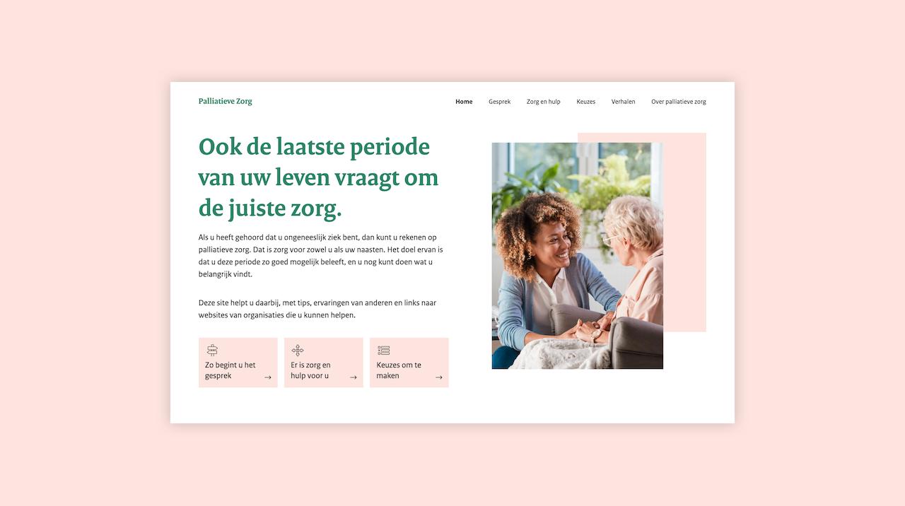 Homepage desktop scherm van Palliatieve Zorg