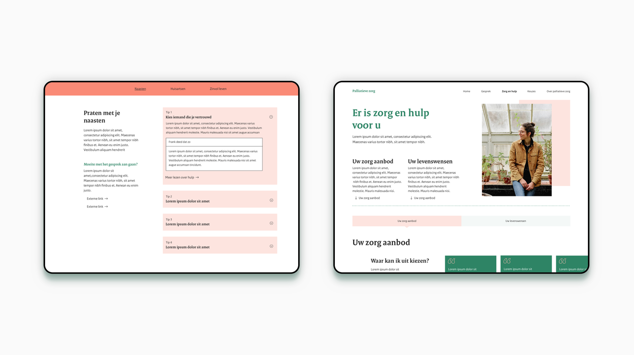 Twee iPad voorbeelden van de website Palliatieve Zorg