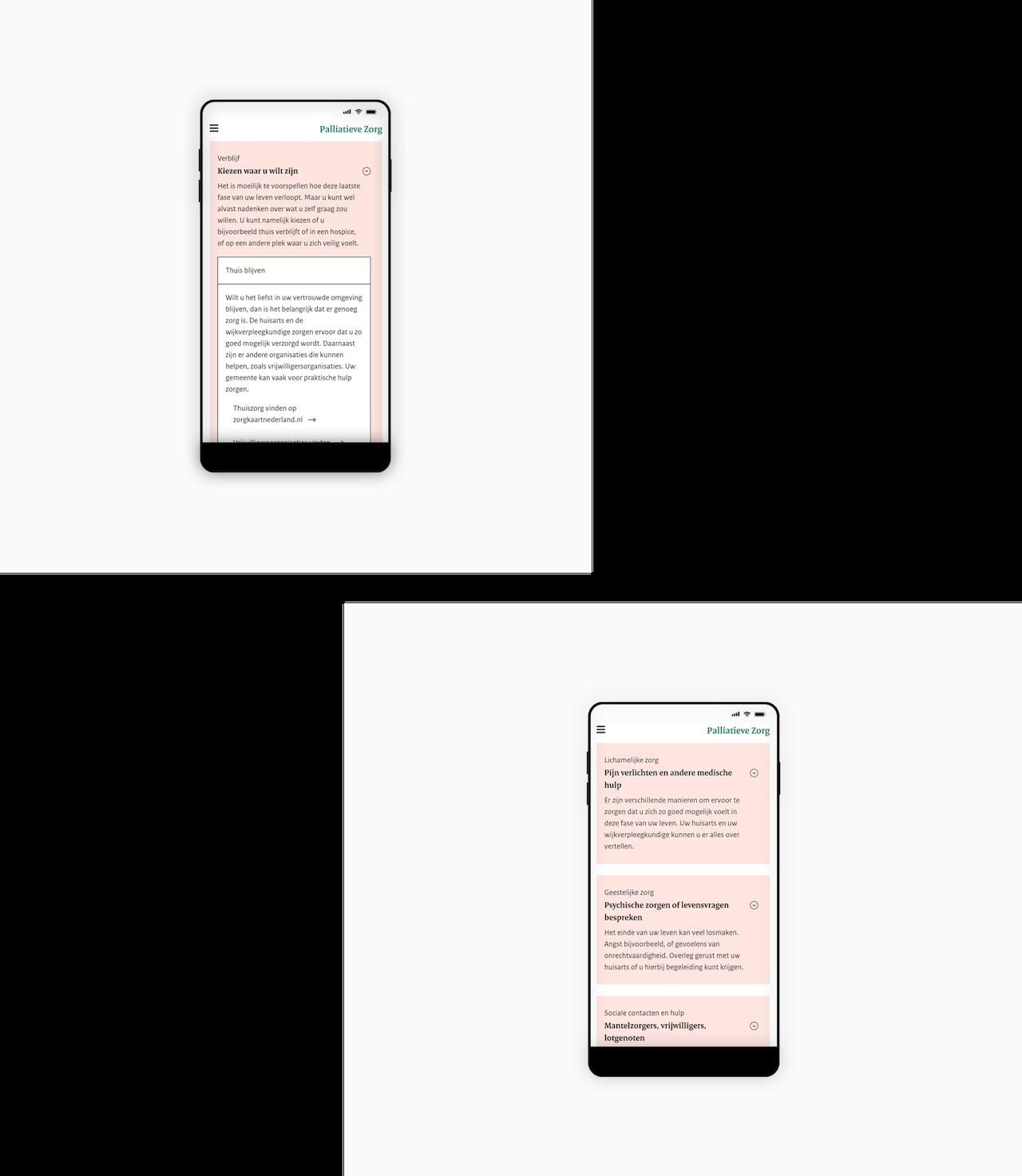 Twee telefoonschermen met afbeeldingen van de website van Palliatieve Zorg