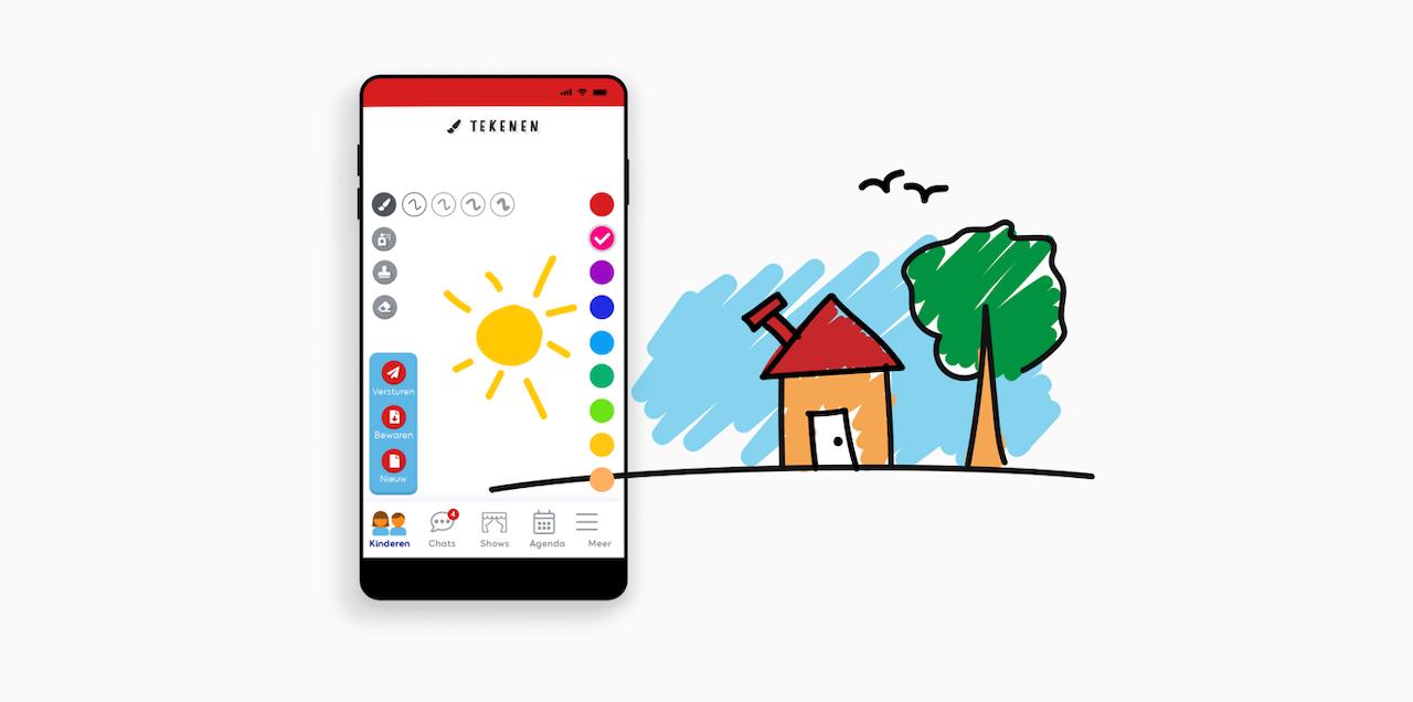 Mobiel scherm van de tekenfunctie van de CliniClowns app en een illustratie van een huis met een boom