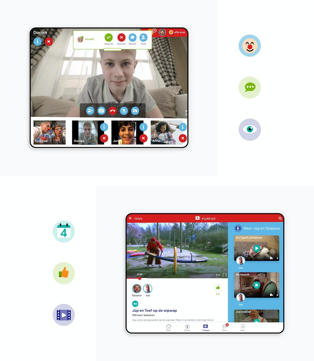 Twee iPad schermen. Een toont de belfunctie van de CliniClowns app. Een scherm toont de filmpjes functie van de app. Om de schermen heen staan 6 illustratieve iconen voor: clown, chat, bekijk, agenda, duimpje en film.